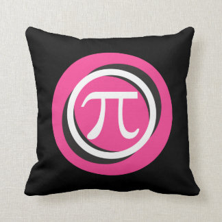 Pi Symbol PINK and Cool Circles Throw Pillows