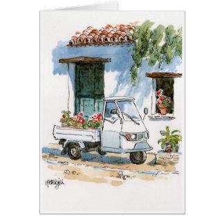 Piaggio and Geraniums - greeting card