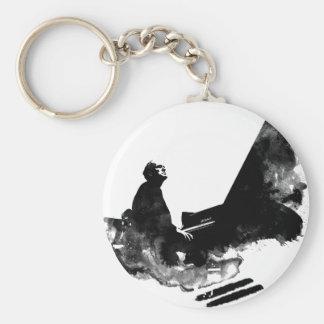 pianist basic round button keychain