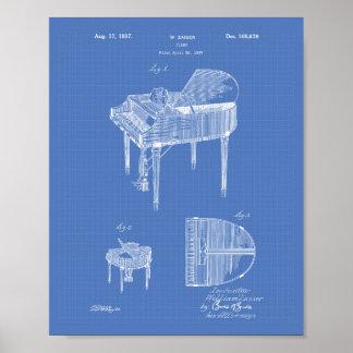 Piano 1937 Patent Art Blueprint Poster