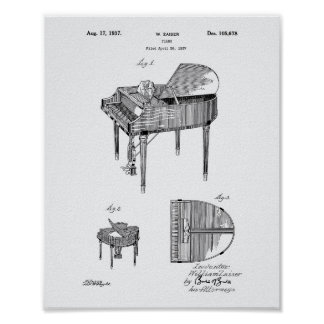 Piano 1937 Patent Art White Paper Poster