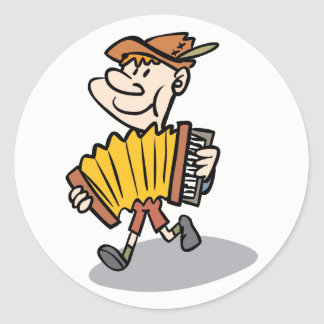 Piano Accordion Player stickers, music instrument Round Sticker