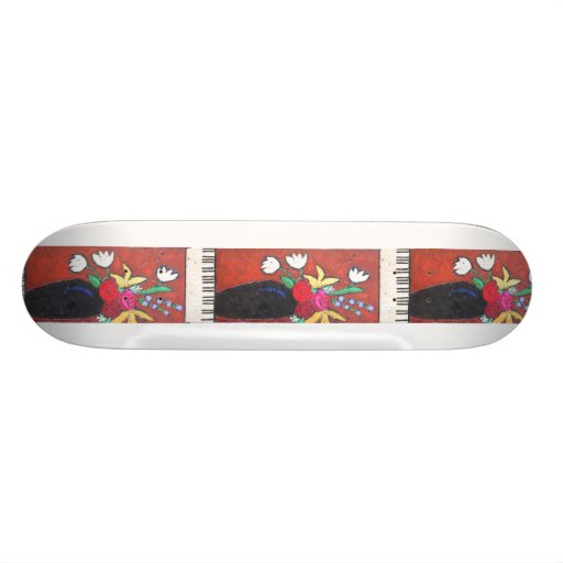 piano and flowers skateboard