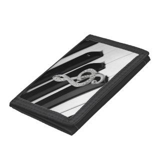 Piano and Gclef design Tri-fold Wallets