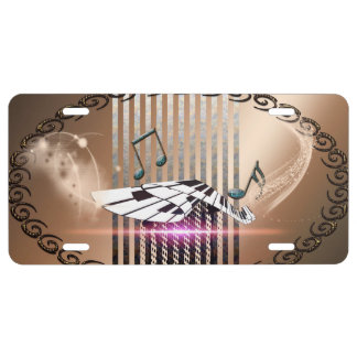Piano and key notes license plate