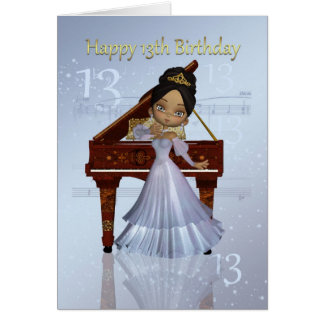 Piano And Music 13th Birthday Card cute African Am