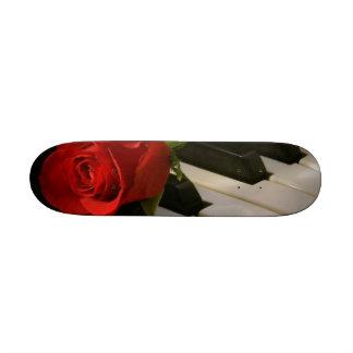 piano and rose mini skateboard deck