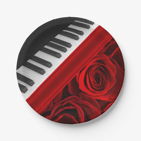 Piano and Roses 7 Inch Paper Plate