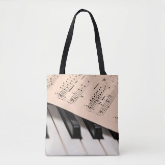 Piano and Sheet Music/Customizable Photo Template Tote Bag