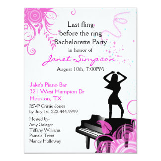 Piano Bar Bachelorette Party Invitation