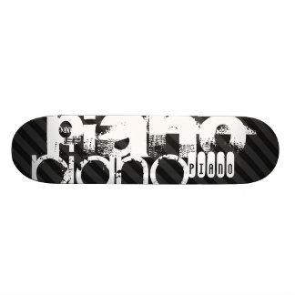 Piano; Black & Dark Gray Stripes Skateboard