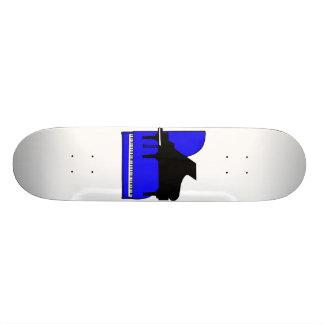 Piano Black Sillouette Blue Top View Skate Deck