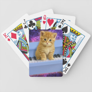 Piano cat bicycle playing cards