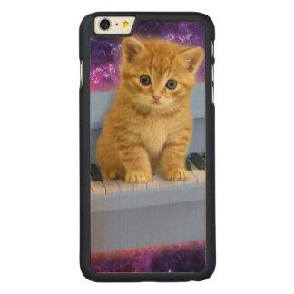 Piano cat carved maple iPhone 6 plus case