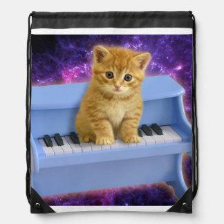 Piano cat drawstring bag