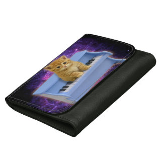 Piano cat leather wallet