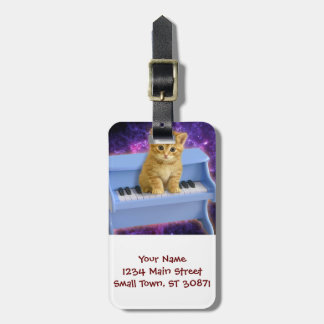 Piano cat luggage tag