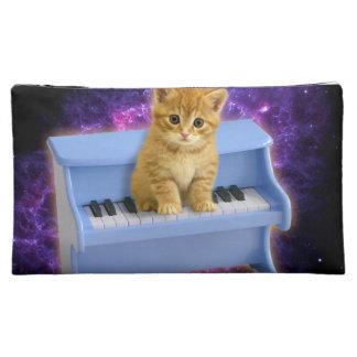 Piano cat makeup bag