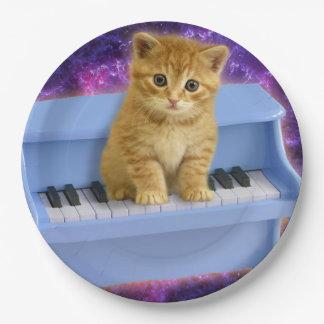Piano cat paper plate