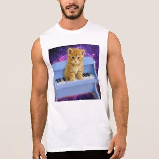 Piano cat sleeveless shirt