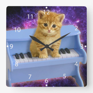 Piano cat square wall clock