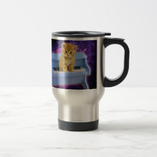Piano cat travel mug