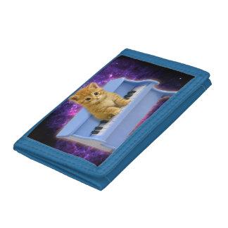 Piano cat tri-fold wallets
