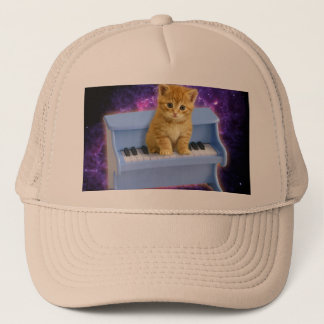 Piano cat trucker hat
