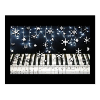 Piano Christmas Snowflake Keyboard Post Card
