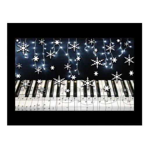 Piano Christmas Snowflake Keyboard Post Card