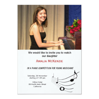 "Piano Competition 5"" X 7"" Invitation Card"