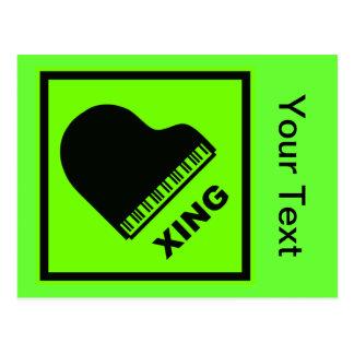Piano Crossing Xing Traffic Sign Postcard