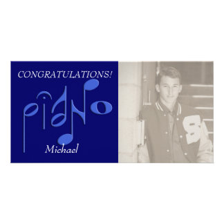 piano customized photo card