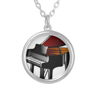 piano gloss black silver plated necklace