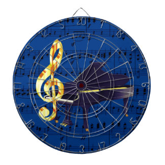 Piano & Gold Treble Clef Royal Blue Sheet Music Dartboard