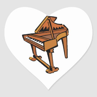 Piano Grand Piano brown graphic musician image Heart Stickers