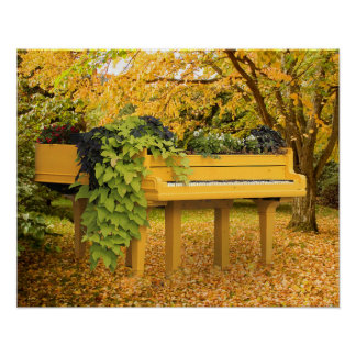 Piano in autumn woods poster