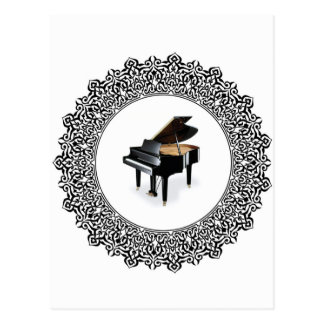 piano in round postcard