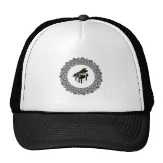 piano in round trucker hat