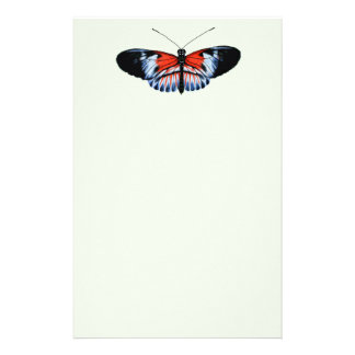 Piano Key Butterfly Black & Red Realistic Painted Stationery