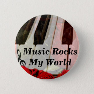 Piano key,Roses & Muisc notes_ 2 Inch Round Button