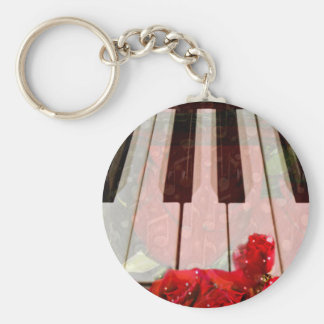 Piano key,Roses & Muisc notes_ Basic Round Button Keychain