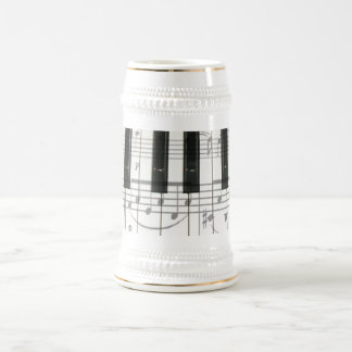 Piano Keyboard and Music Notes Beer Stein