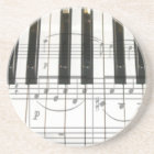 Piano Keyboard and Music Notes Coaster