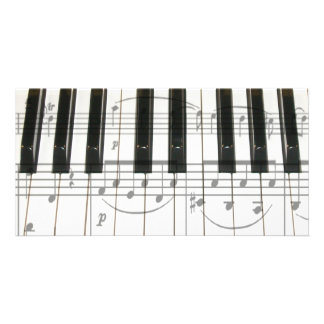 Piano Keyboard and Music Notes Custom Photo Card