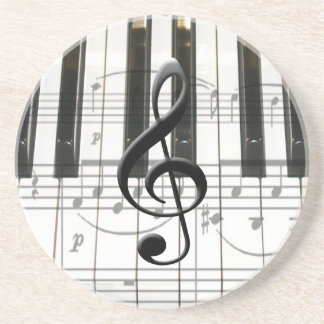Piano Keyboard and Music Notes Drink Coaster