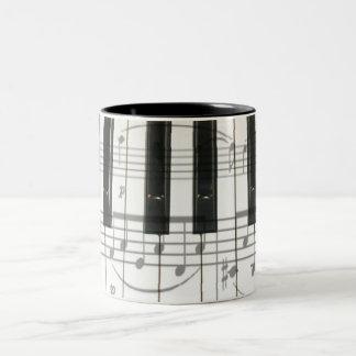 Piano Keyboard and Music Notes Two-Tone Coffee Mug