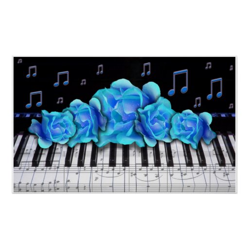 Piano Keyboard Blue Roses Colossal Size Posters