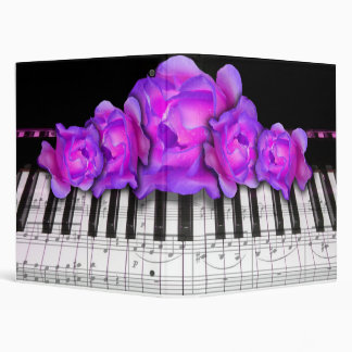 Piano Keyboard Fuchsia Purple Roses 3 Ring Binder