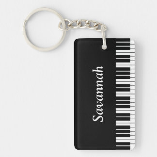 Piano Keyboard Keys, Black and White Keychain